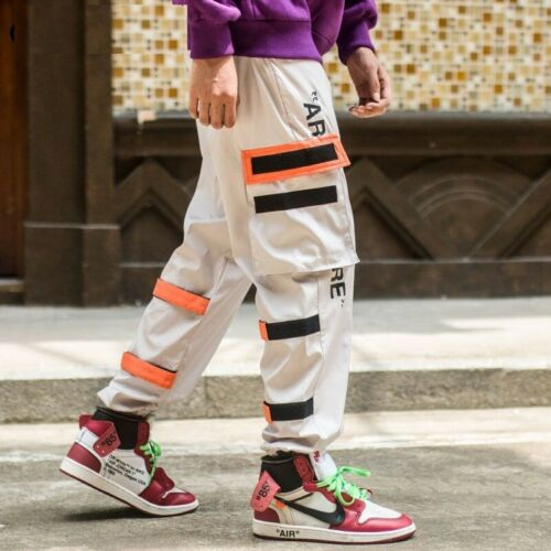 Men Cargo Pants Black Ribbons Casual Multi-Pocket 2020 Harem Joggers Harajuku