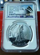 2017 Australia 1 troy oz .999 Specimen Silver Archie Alpine Dingo NGC MS69 ER