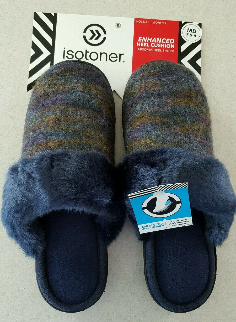 NWT  Isotoner Women's 7.5-8 MED Slippers NAVY Mary Claire Clogs FUR  #401216