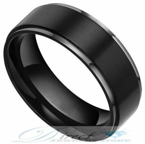 8mm Mens Black Tungsten Carbide Rings Flat Brushed Wedding Band Size 7.5 to 14.5
