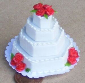 1-12-Scale-4-Tier-Wedding-Cake-White-Icing-amp-Red-Roses-Dolls-House-Bakery-B