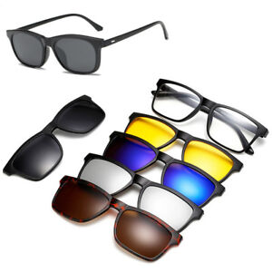c20172c67e Image is loading Magnetic-Spectacle-Glasses-Frame-With-5-Pieces-Polarized-