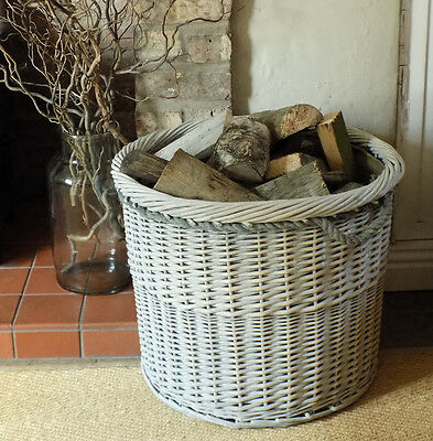 Large round Copenhagen washed willow log basket with rope handles