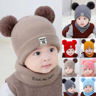 Scarf Gift Set Infant Toddler Baby Double Pom Pom Ball Knit Beanie Cap Hat