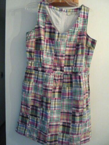 LL Bean Sleeveless V-Neck Plaid Cotton Madras Lin… - image 1
