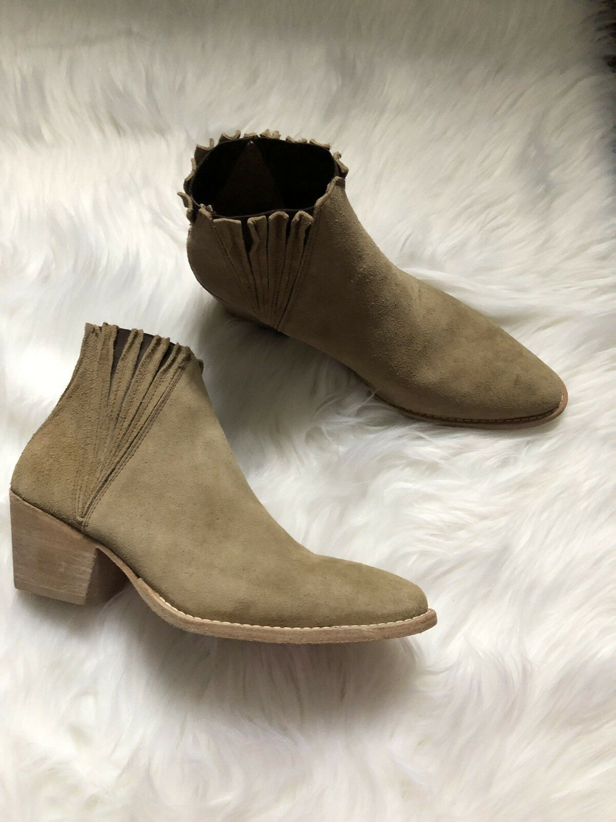 NEW FREE PEOPLE FARYLROBIN Sz 8 TRILL SUEDE ANKLE BOOT BOOTIE TAUPE TABACCO  198