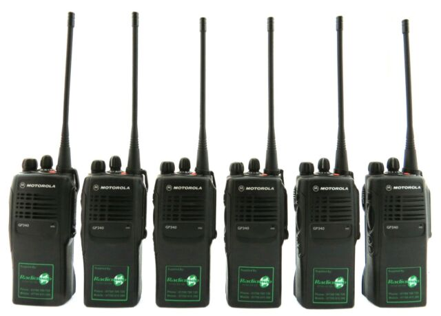 MOTOROLA GP340 UHF 4 WATT TWO WAY WALKIE-TALKIE RADIOS & SPEAKERS MICS x 6