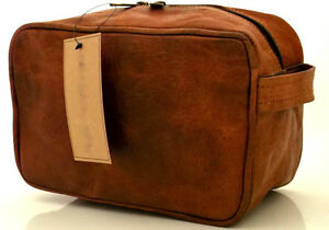 Image is loading Leather-Toiletry-Bag-compact-Shaving-Dopp-Kit-for- 6fdc6430a777f