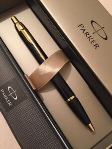 PARKER-IM-BLACK-GOLD-TRIM-BALLPOINT-PEN-FRANCE-GIFT-BOX-NEW-OLD-STOCK