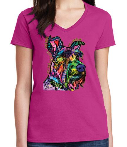 My Schnauzer Dog Ladies V Neck T-shirt Funky art color puppy Tee 1773C