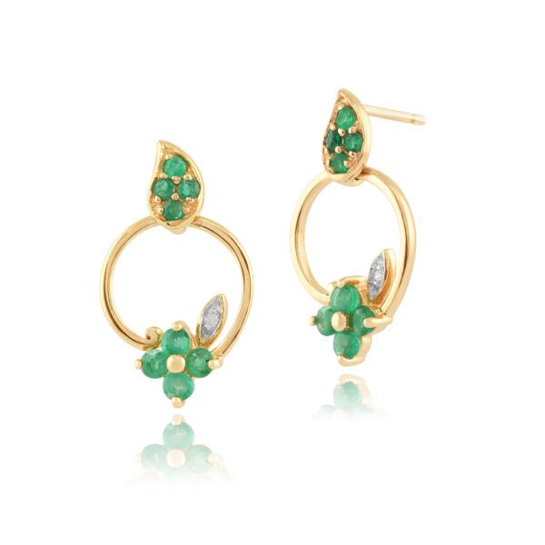 Effizient 9 Karat Gelbgold 0,48 Ct Natürlicher Smaragd & Diamant Blumenmuster Ohrhänger Dauerhafter Service