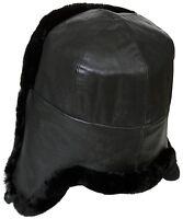 Naval Officer Mouton Sheepskin Russian Winter Hat Ushanka, Genuine Lamb Leather.