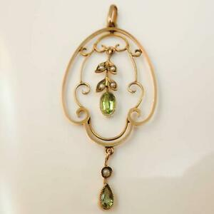 Antique-9ct-Gold-Peridot-amp-Pearl-Pendant-Vintage-amp-Antique-Jewellery