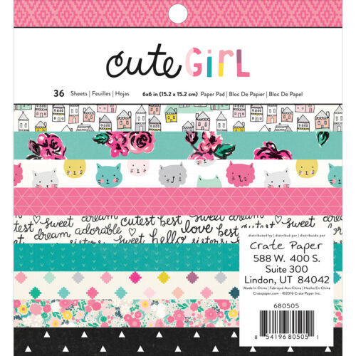 American Craft Crate Paper Cute Girl Collection 6 X 6 Paper Pad