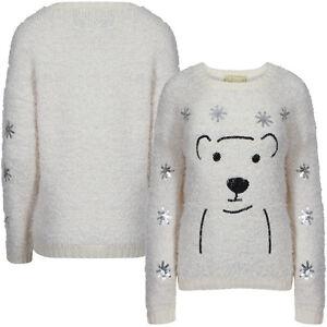 women 39 s new merry christmas polar bear stars round neck. Black Bedroom Furniture Sets. Home Design Ideas
