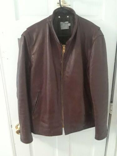 Vintage Mens Burgundy Genuine Leather Motorcycle j