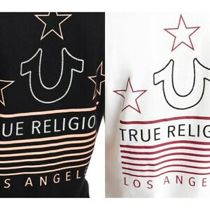 True-Religion-Women-039-s-Crystal-Embellished-Flag-Deep-V-Neck-Tee-T-Shirt