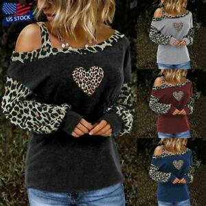 Womens-Leopard-Print-One-Shoulder-T-Shirt-Blouse-Long-Sleeve-Loose-Tops-Pullover