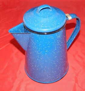 Vintage-Blue-Speckled-Enamelware-Coffee-Pot-With-Attached-Lid