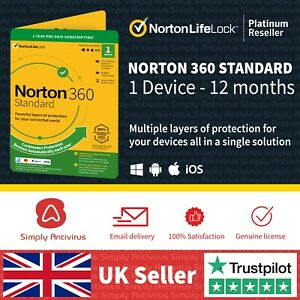 Norton 360 Standard 2021 | 1 Device | 1 Year + Secure VPN- *5 Min Email Delivery