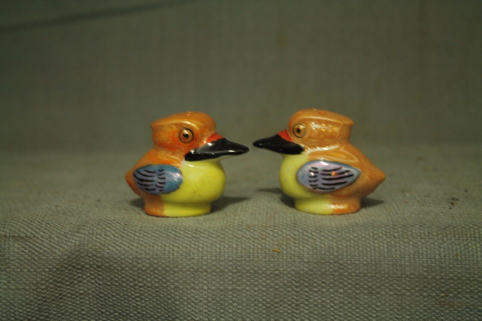 Vintage Japonais Mignon Petit Oiseau Céramique Sel et Poivre Shakers S & P Jaune