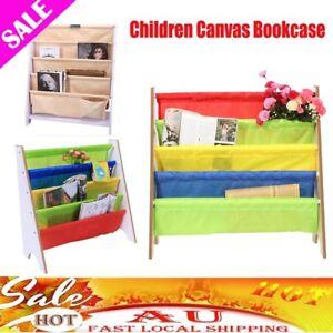 Image Is Loading Sling Bookcase Wooden Canvas Bookshelf Magazine Book Kids