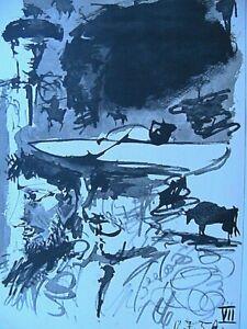 Picasso-Toros-Y-Toreros-1961-B-amp-W-Paint-Lithograph-Print-Matador-Limited-Edition