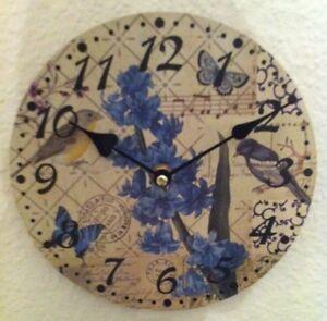 Clayre-amp-Eef-Wanduhr-20cm-Landhaus-Retro-Shabby-Vintage-rund-Schmetterling-Blume