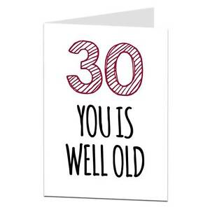 Image Is Loading Funny 30th 30 Today Birthday Card Husband Wife