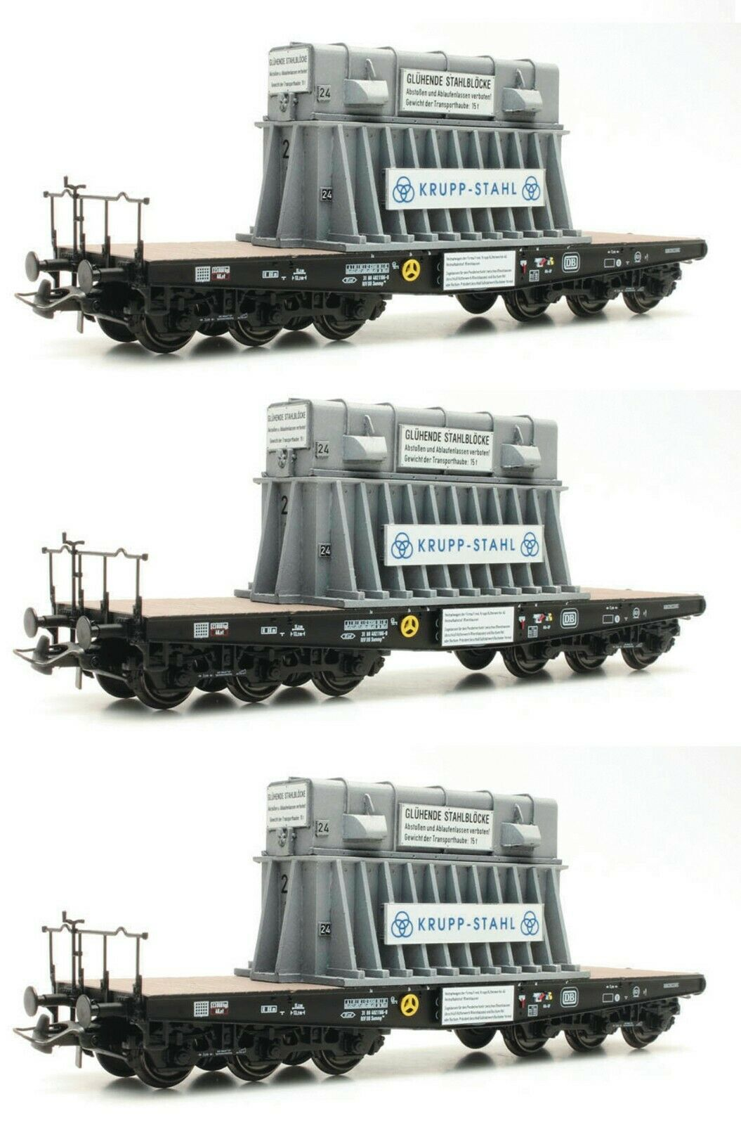 Roco HO scale Set of 3 flat cars loaded with cogged bloom hoods DB