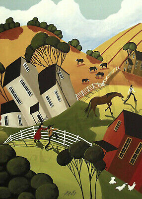 Country Red barn horse farm cowboy ranch Giclee ACEO print folk art Criswell