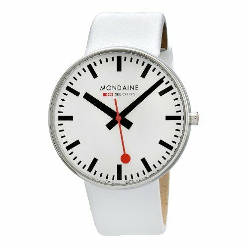 Mondaine Men's 6603032811SBA Giant White Leather Band Watch