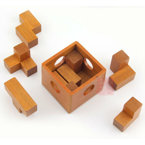 Very Fun ! Tetris Soma Cube in Wood Box 3D Jigsaw Puzzle Wooden Brain Teaser