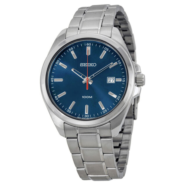 Seiko Blue Dial Stainless Steel Mens Watch SUR059