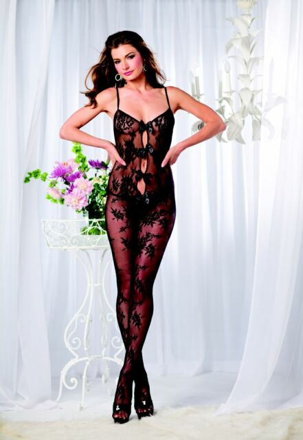 49fbd0f2e Floral Lace Women Plus Size Bodystocking Keyhole   Bow New Lingerie Fashion  65Q