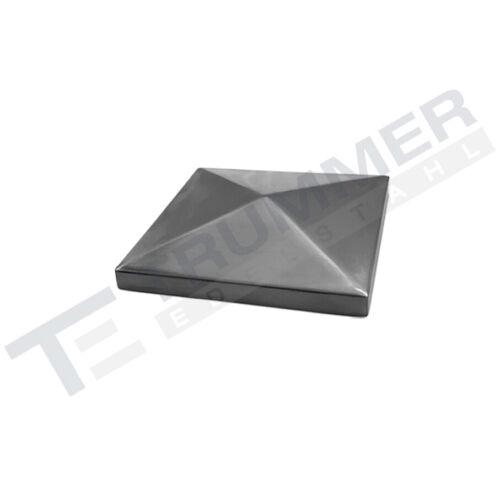Edelstahl Endkappe Pyramidenkappe 70 x 70 mm Abdeckkappe 240 K geschliffen V2A