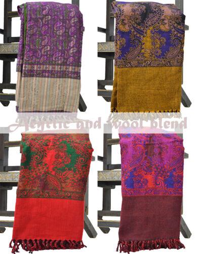 Paisley Half Plain Acrylic Tassels Wool Blend Pashmina Cashmere Scarf Shawl Wrap