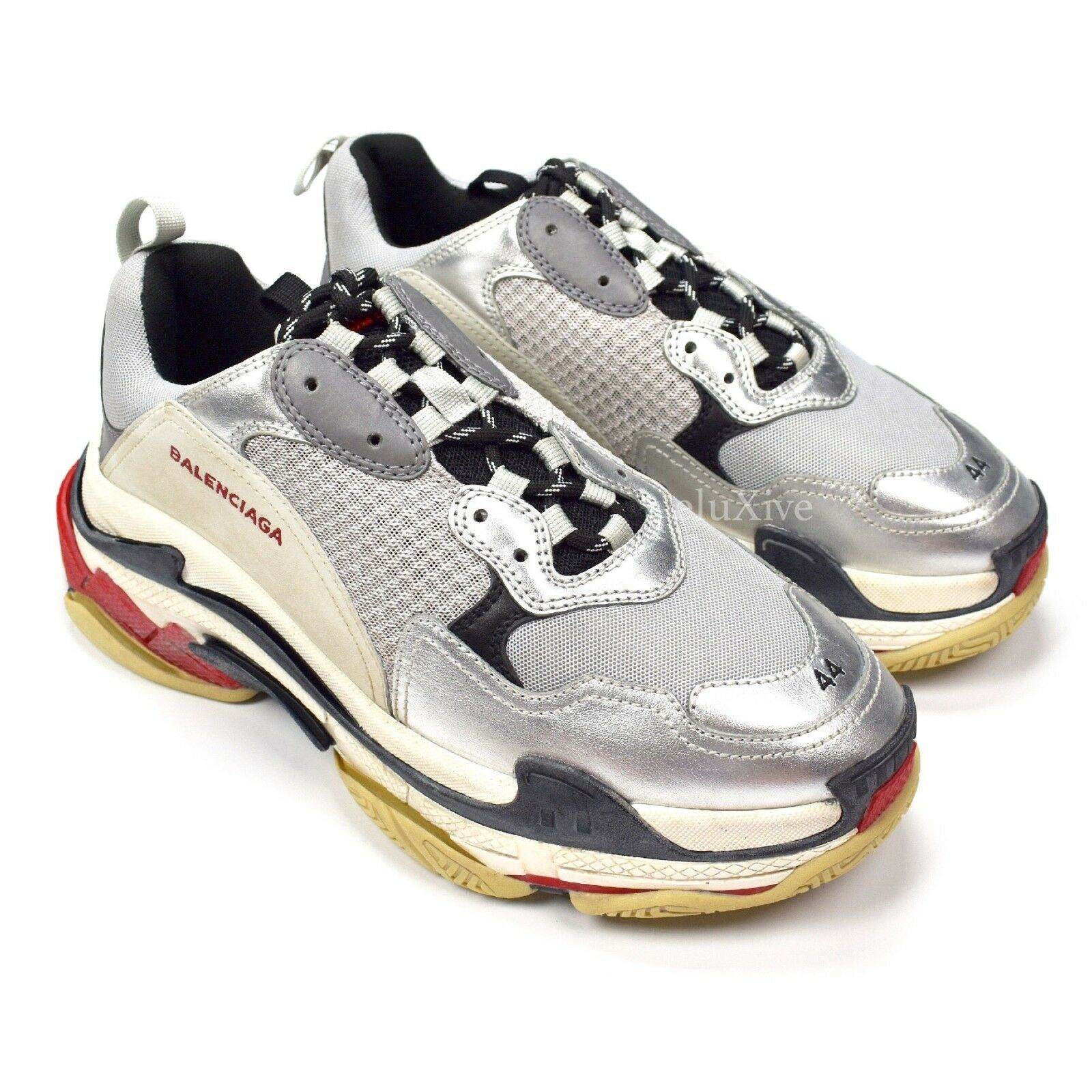 NWT Balenciaga Men's Triple S Trainer Dad Sneakers Silver Red 11 2018 AUTHENTIC