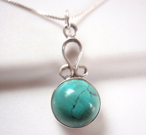 Small Round Turquoise 925 Argent Sterling Collier Corona Sun Jewelry