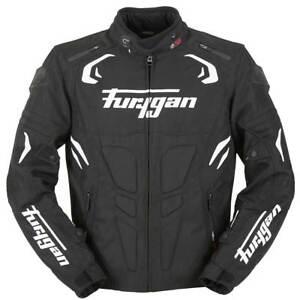 Furygan-Sable-Noir-Cuir-Blanc-sport-veste-de-moto
