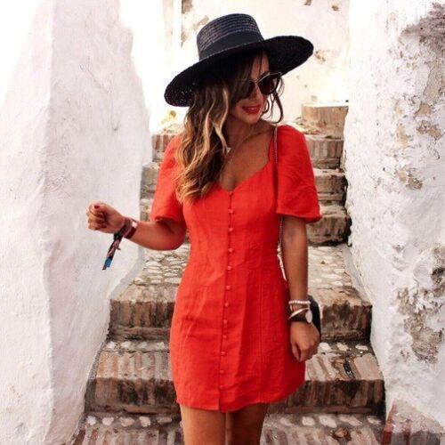 Zara Blogger sbuffo maniche Mini rosso M Medium con corto a abito donna 4rRTq4z