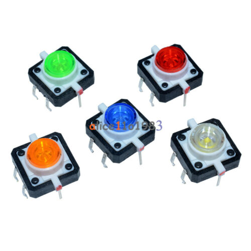5PCS 12X12X7.3 Tactile Push Button Switch Momentary Tact LED 5 Color