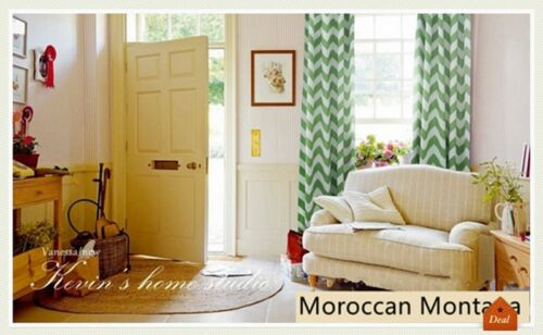 Green Moroccan Nordic Blockout Curtains Stripe Eyelet Blackout Curtain 180cm wid