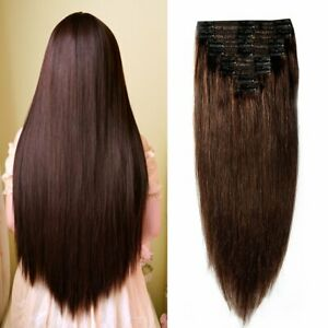 160g-Double-Weft-Clip-in-100-Remy-Human-Hair-Extensions-2-Dark-Brown-22-Inch