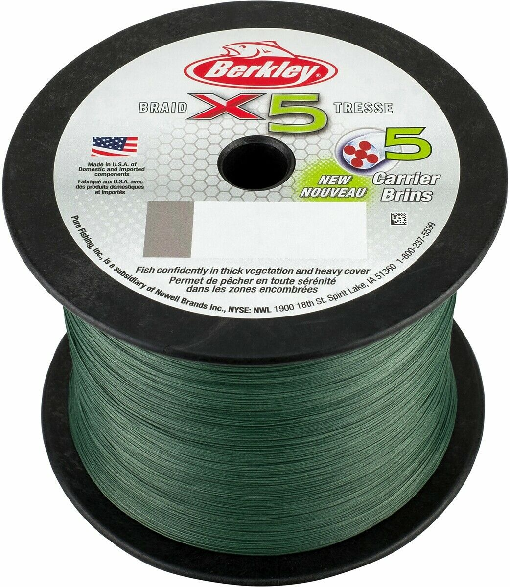 NEW 2018 Berkley X5 2000m Braid Bulk Spool Low-vis Green 30Lb   13.61kg 0.20mm