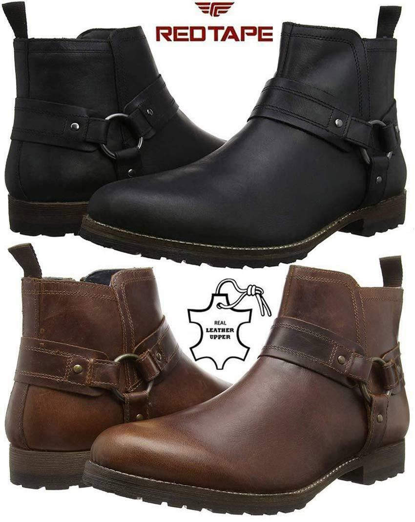 Uomo Leder Ankle Cowboy Biker Stiefel Harness New Chelsea Western Riding Harness Stiefel Schuhes bc5539