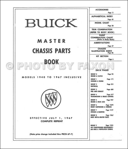 Buick Mechanical Parts Book 1967 1966 1965 1964 1963 1962 1961 Chassis Catalog