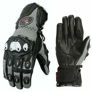 ISLERO-All-Weather-Leather-Motorbike-Motorcycle-Gloves-Carbon-Fiber-GEL-Knuckle