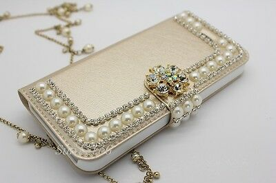 Bling Flower Pearl Rhinestone flip Leather Case Cover For iPhone 6, 6 Plus