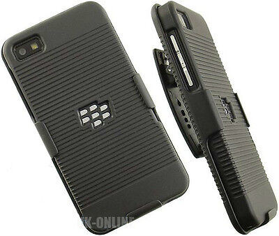 BLACK RUBBERIZED HARD CASE + BELT CLIP HOLSTER STAND FOR BLACKBERRY Z10 Q10
